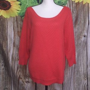 Red Coral Knit Long Sleeve